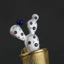 Load image into Gallery viewer, Handmade Sterling Silver Cactus Brooch - Natural Lapis & Garnet - Tafani's