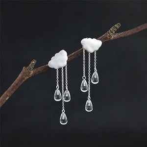 Sterling Silver Raining Cloud Drop Earrings - Handamde - Tafani's