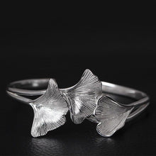 Load image into Gallery viewer, Sterling Silver Ginkgo Leaves Open Cuff Bangle - Tafani's