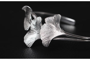 Sterling Silver Ginkgo Leaves Open Cuff Bangle - Tafani's