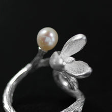 Load image into Gallery viewer, Handmade Sterling Silver Magnolia Flower Ring - Natural Pearl - Tafani's