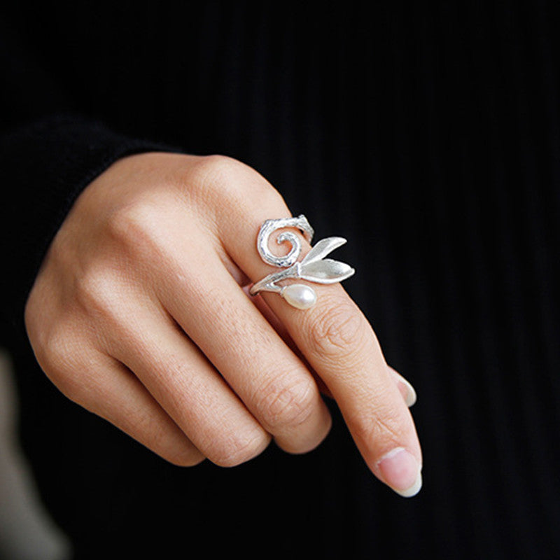 Handmade Sterling Silver Magnolia Flower Ring - Natural Pearl - Tafani's