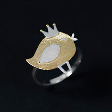 Load image into Gallery viewer, Sterling Silver Bird with Crown Ring - Handmade - Tafani's