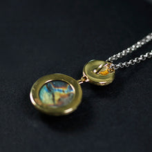 Load image into Gallery viewer, Handmade Sterling Silver Circle Pendant - Natural Stones - Tafani's