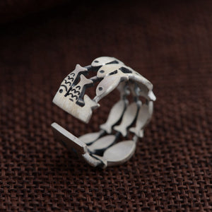 Sterling Silver Fish Ring - Resizable - Tafani's