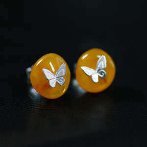 Handmade Sterling Silver Butterfly Stud Earrings - Natural Amber - Tafani's