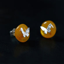 Load image into Gallery viewer, Handmade Sterling Silver Butterfly Stud Earrings - Natural Amber - Tafani's
