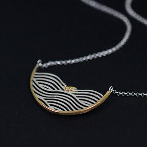 Sterling Silver Whale on Waves Necklace - Handmade - Tafani's