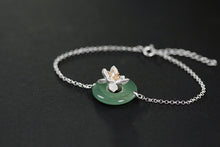 Load image into Gallery viewer, Handmade Sterling Silver Lotus Flower Bracelet - Natural Aventurine - Tafani's