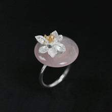 Load image into Gallery viewer, Handmade Sterling Silver Lotus Flower Ring - Natural Aventurine - Tafani's