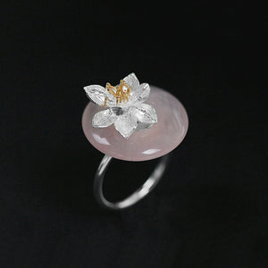 Handmade Sterling Silver Lotus Flower Ring - Natural Aventurine - Tafani's