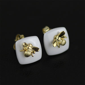 Handmade Sterling Silver Bee and Rose Ring & Earrings Set - Nanoceramics - Tafani's
