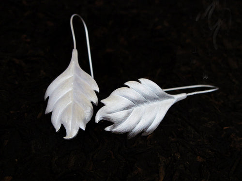 Sterling Silver Leaf Drop Earrings - Tafani's