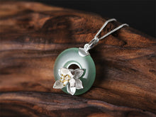 Load image into Gallery viewer, Hadmade Sterling Silver Lotus Flower Pendant - Natural Aventurine - Tafani's