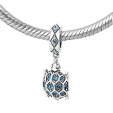 Load image into Gallery viewer, Sterling Silver Turtle Pendant - Blue Zircon - Tafani's