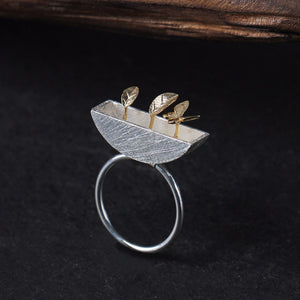 Sterling Silver Little Garden Ring - Handmade - Tafani's