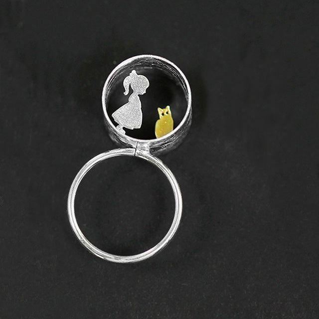 Sterling Silver Girl/Boy & Cat Ring - Handmade - Tafani's