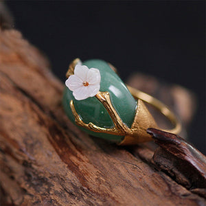 Handmade Sterling Silver Plum Flower Ring - Natural Aventurine - Tafani's