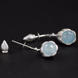Handmade Sterling Silver Lotus Bud Drop Earrings - Natural Aquamarine - Tafani's
