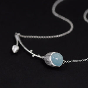 Handmade Sterling Silver Flower Necklace - Natural Aquamarine - Tafani's