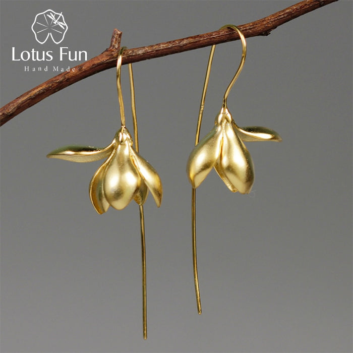 Lotus Fun Real 925 Sterling Silver Handmade Designer Fine Jewelry Elegant Magnolia Flower Dangle Earrings for Women Brincos - Tafani's