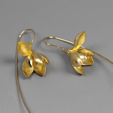 Load image into Gallery viewer, Sterling Silver Magnolia Flower Drop Earrings - Handmade - Tafani's