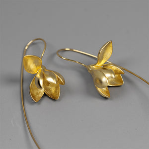 Sterling Silver Magnolia Flower Drop Earrings - Handmade - Tafani's