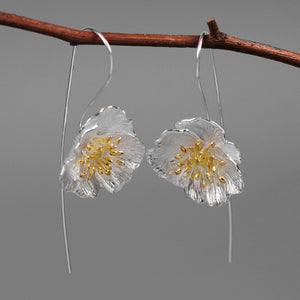 Sterling Silver Poppy Flower Drop Earrings - Handmade - Tafani's