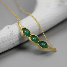 Load image into Gallery viewer, Handmade Sterling Silver Pea Pod Necklace - Natural Aventurine - Tafani's