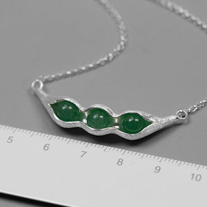 Handmade Sterling Silver Pea Pod Necklace - Natural Aventurine - Tafani's