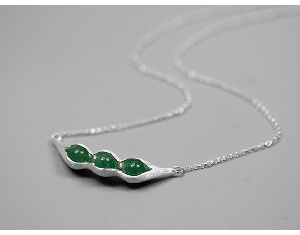 Handmade Sterling Silver Pea Pod Necklace - Natural Aventurine