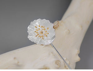 Sterling Silver Poppy Flower Brooches - Handmade - Tafani's