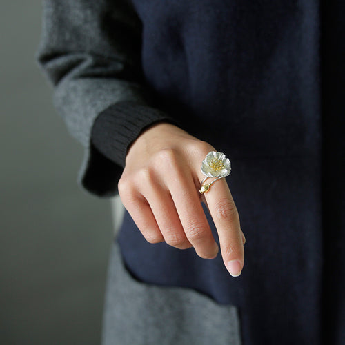 Sterling Silver Poppy Flower Ring - Handmade - Tafani's