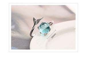 Sterling Silver Blue Crystal Mermaid Bubble Ring - Tafani's