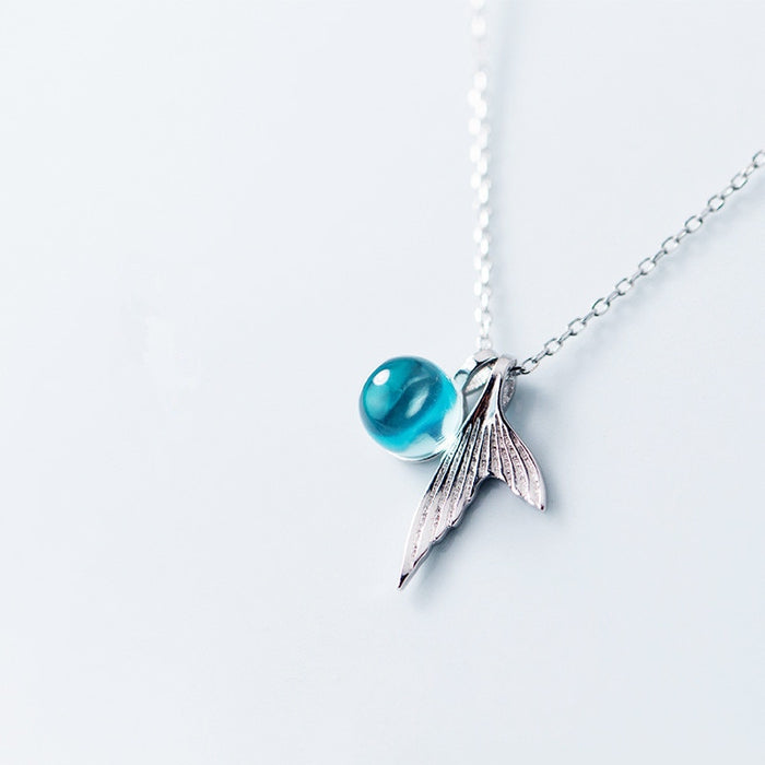 Sterling Silver Blue Crystal Mermaid Necklace - Tafani's