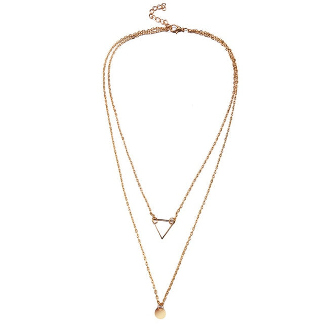 Triangle Multi-layered Necklace - Tafani's