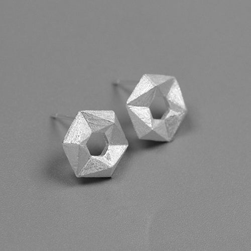 Handmade Geometrical Stud Earrings - Sterling Silver - Tafani's