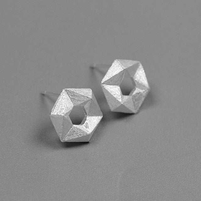 Handmade Geometrical Stud Earrings - Sterling Silver