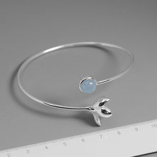 Load image into Gallery viewer, Handmade Sterling Silver Magnolia Flower Bracelet - Natural Aquamarine
