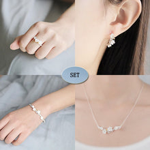 Load image into Gallery viewer, Sterling Silver Flower Stud Earrings, Ring, Bracelet & Necklace Set of 4 - Tafani's