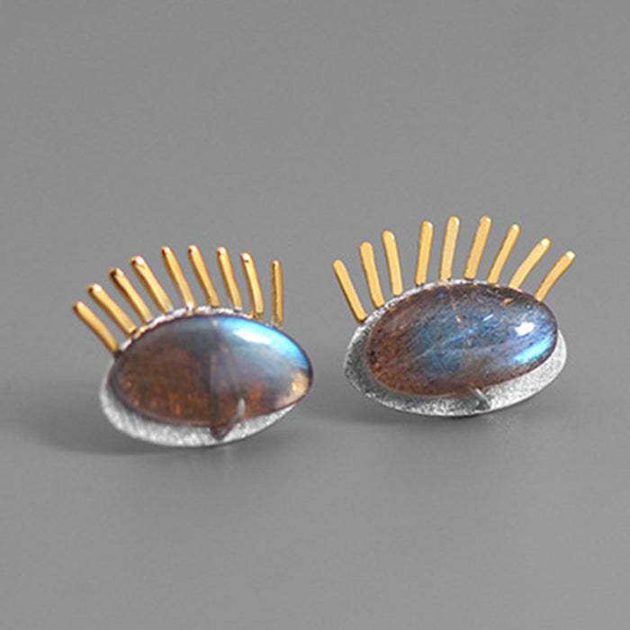 Sterling Silver Handmade Stud Earrings - Natural Labradorite - Tafani's