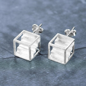 Handmade Stairs Stud Earrings - Sterling Silver