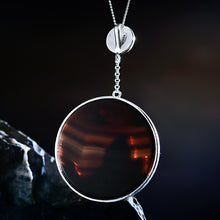 Load image into Gallery viewer, Handmade Sterling Silver Bird in Sunset Pendant - Natural Agate - Tafani's