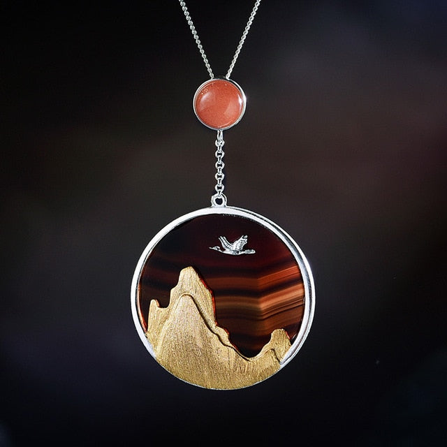 Handmade Sterling Silver Bird in Sunset Pendant - Natural Agate - Tafani's