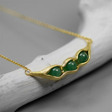 Load image into Gallery viewer, Handmade Sterling Silver Pea Pod Necklace + Ring + Drop Earrings Set - Natural Aventurine