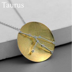 Sterling Silver Star Constellations Zodiac Sign Pendant - Zircons - Tafani's