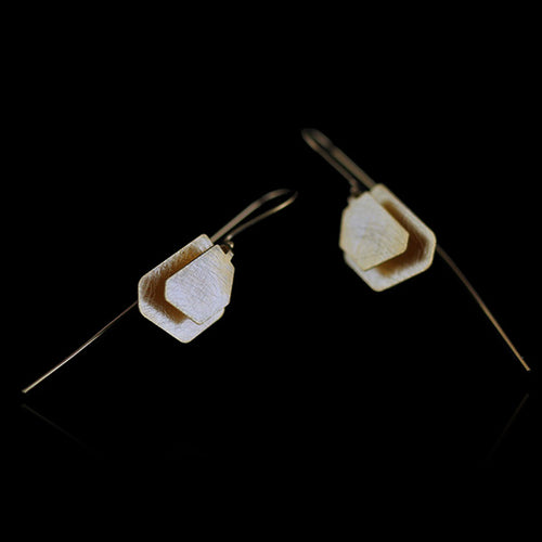 Sterling Silver Polygon Drop Earrings - Handmade - Tafani's