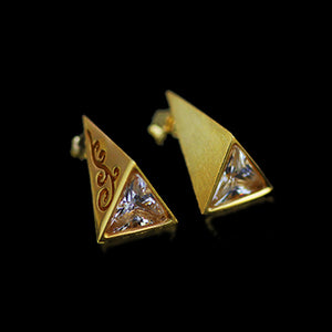 Handmade Sterling Silver Pyramid Stud Earrings - Zircons - Tafani's