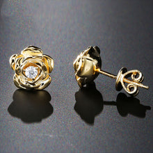 Load image into Gallery viewer, 14k Rose/Yellow Gold Rose Flower Stud Earrings - Moissanites - Tafani's