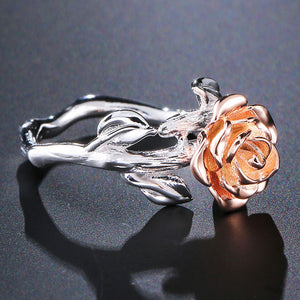Sterling Silver Rose Flower Ring - Rose Gold Plated - Tafani's